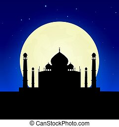 India, Taj Mahal silhouette of attraction. Travel banner with moon on the night background. Trip to country. Travelling illustration.