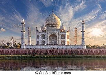 india, taj, vista, mahal, agra, yamuna, maravilloso