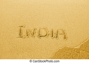 India text written on sand - Word India written on sand...