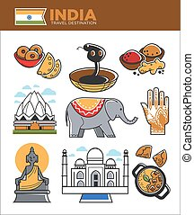 India tourism travel famous landmark symbols and Indian culture vector tourist attractions