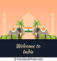 India. Tourism. Travelling illustration Indian. Modern flat design. Indian elephant. Taj mahal, Lotus temple, gateway of India, Qutab Minar.