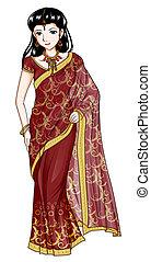 India Traditional Costume - Cartoon style illustration of...