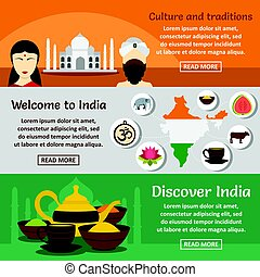 India travel banner horizontal set, flat style