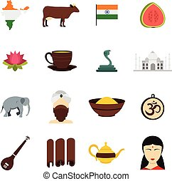 India travel icons set in flat style