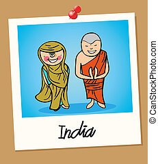 India travel polaroid people - Indian man and woman cartoon...