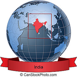 India, position on the globe Vector version with separate...