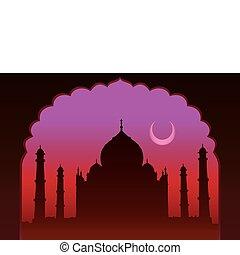 Indian moon night Taj Mahal temple and old arch