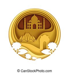 India, vector illustration in paper art style