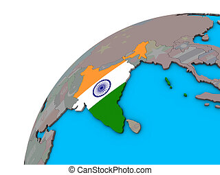 India with flag on 3D globe