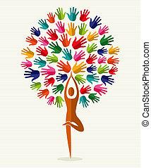 india, yoga, árbol, manos