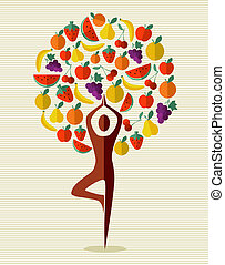 Human shape yoga exercise tree fruits design. Vector file layered for easy manipulation and custom coloring.