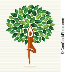 India yoga leaf tree - Human shape yoga exercise tree design...