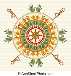 Hand circle human shape mandala design. Vector file layered for easy manipulation and custom coloring.