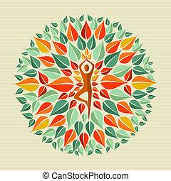 Leaves circle human shape mandala design. Vector file layered for easy manipulation and custom coloring.