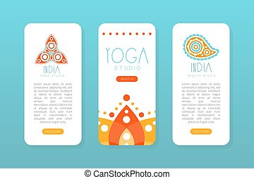India Yoga Studio Onboard Screen Templates Set, Spa Center, Traditional Medicine, Meditation and Spiritual Practice Mobile Application Page Hand Drawn Vector Illustration