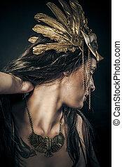 indiai, érzéki, nő, noha, arany-, maszk, ősi, istennő