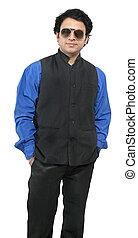 indiai, hím, formál, fárasztó, blue ing