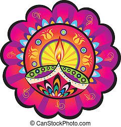 indiai, lámpa, olaj