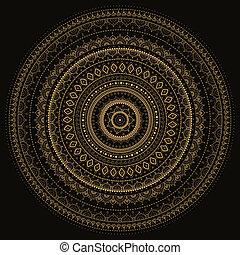 indiai, mandala., dekoratív, pattern.
