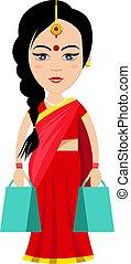 indiai, nő, fehér, ábra, pantalló, bevásárlás, vektor, háttér.