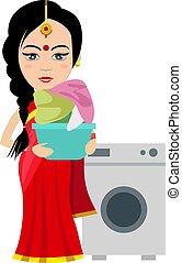 indiai, nő, gép, ábra, fehér, mosás, vektor, háttér.