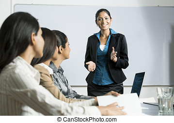 indiai, nő, presentation., ügy
