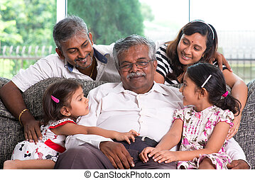indiai, nemzedék, multi-, család