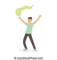 indiai, színes, tánc, táncol, betű, fiatal, ábra, hagyományos, vektor, öltözék, kényelmes, ember