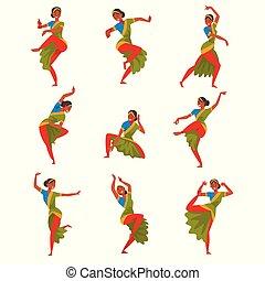 indiai, tánc, táncol, előadó, betű, fiatal, ábra, hagyományos, állhatatos, vektor, nép, mosolyog bábu, táncos, öltözék