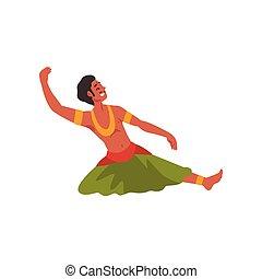 indiai, táncol, betű, előadó, öltözék, fiatal, ábra, hagyományos, vektor, nép, mosolygós, hím, táncos, ember