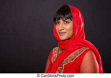 indiai, woman külső, el