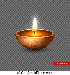 indian, スタイル, オイル, illustration., diya, 祝祭, lights., diwali, -, 要素, 伝統的である, 現実的, ランプ, ベクトル, 透明, 背景, 3d