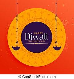 indian, デザイン, 流行, 幸せ, diwali, 背景, カード, 祝祭