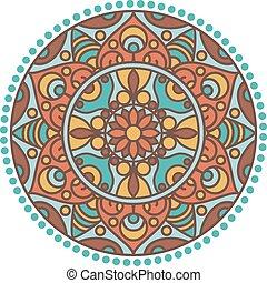 indian, ベクトル, mandala., 伝統的である