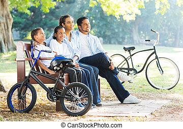 indian, 公園, 弛緩, 家族