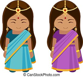 indian, 女の子, sari.