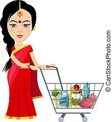 indian, 女, 白, イラスト, 買い物, ベクトル, バックグラウンド。