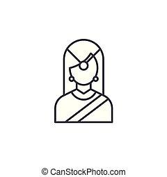 indian, 女, 線である, 印, concept., シンボル, 伝統的である, ベクトル, 線, アイコン, illustration.