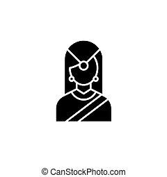 indian, 平ら, 女, illustration., 印, concept., シンボル, 伝統的である, ベクトル, 黒, アイコン