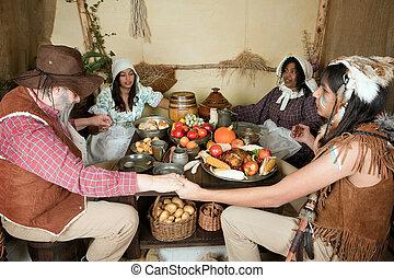 indian, 感謝祭, 家族
