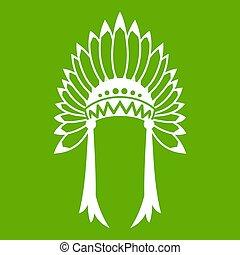 indian, 緑, 頭飾り, アイコン