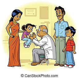 indian, 訪問, 家族 医者