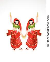 indian, 遊び, 女の子, 伝統的である