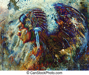 indian, 頭飾り, 抽象的, 羽, 女, 色, collage., 身に着けていること