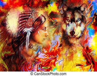 indian, 頭飾り, 抽象的, 羽, 狼, 女, 色, 身に着けていること, 若い, バックグラウンド。