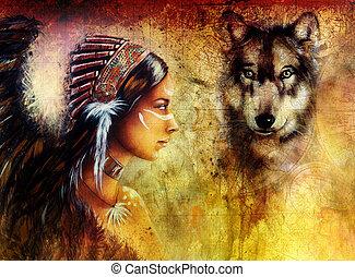 indian, 頭飾り, 羽, 狼, 女, 身に着けていること, 若い