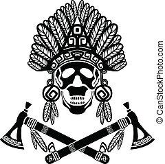 indian, 頭骨, 頭飾り