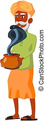 indian aged man with cobra snake in pot cartoon vector