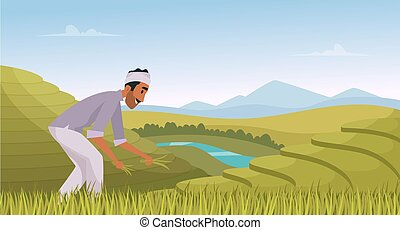 Indian agriculture landscape. Farmer working in indian rice fields rural worker vector cartoon background