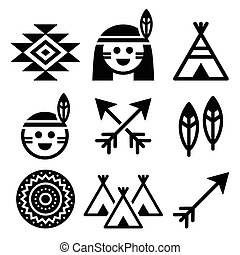 Indian American, indigenous people - Vector icons set of...